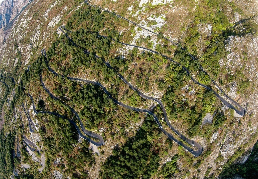 Serpentine mountain road in Montenegro