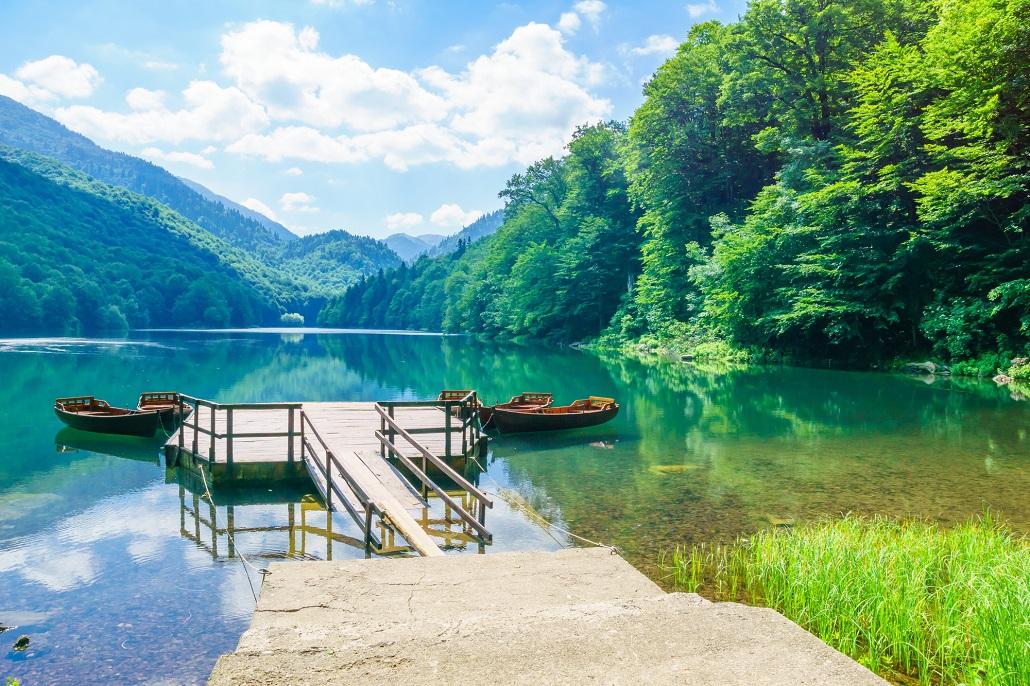 Pier and boats in Lake Biograd (Biogradsko jezero), Biogradska Gora national park, Montenegro