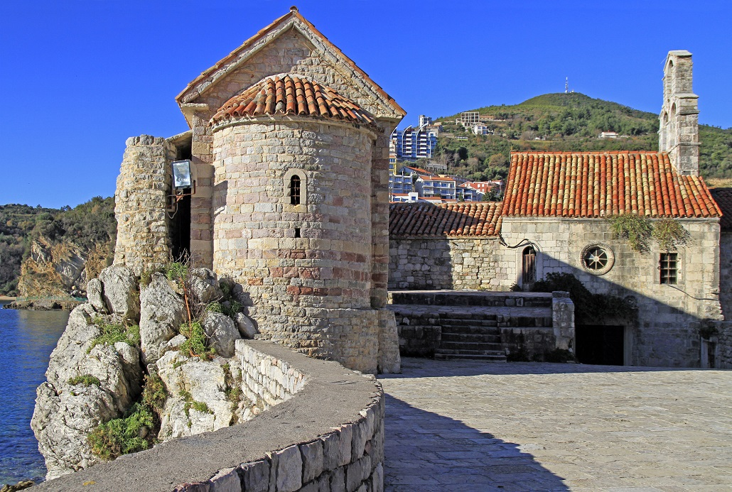 buildings of old church in old town of Budva, Montenegro