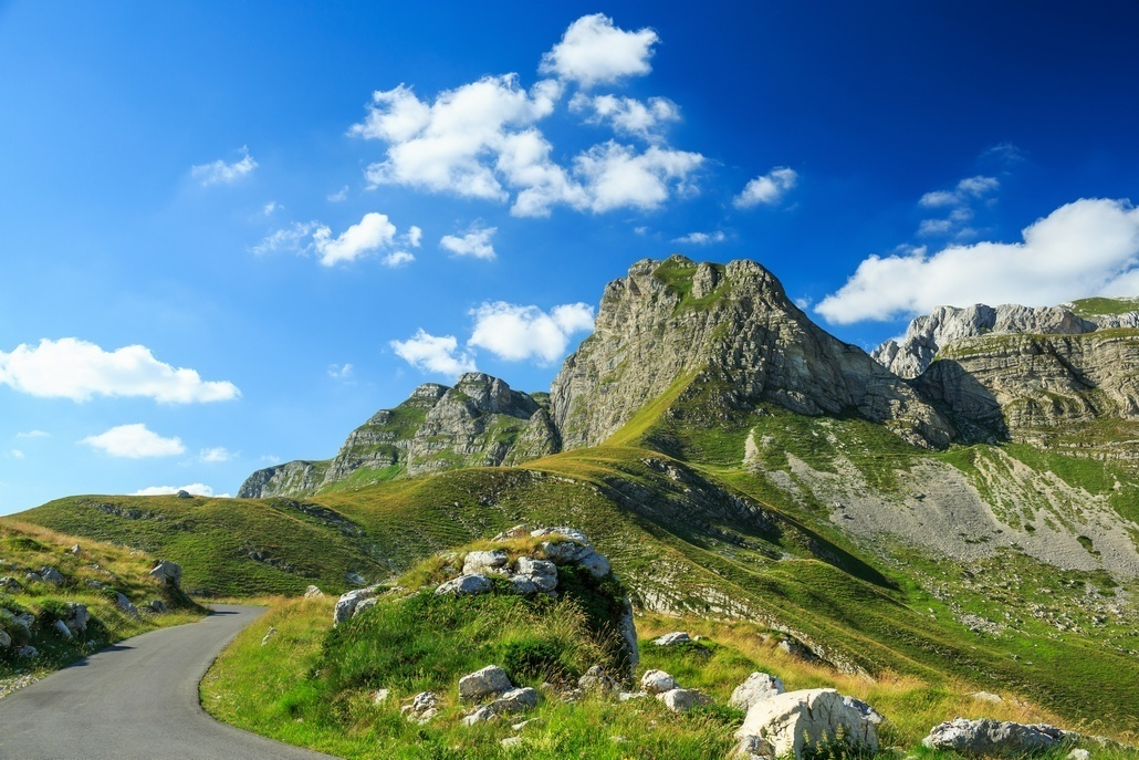The road in the national park Durmitor in Montenegro, Balkans.