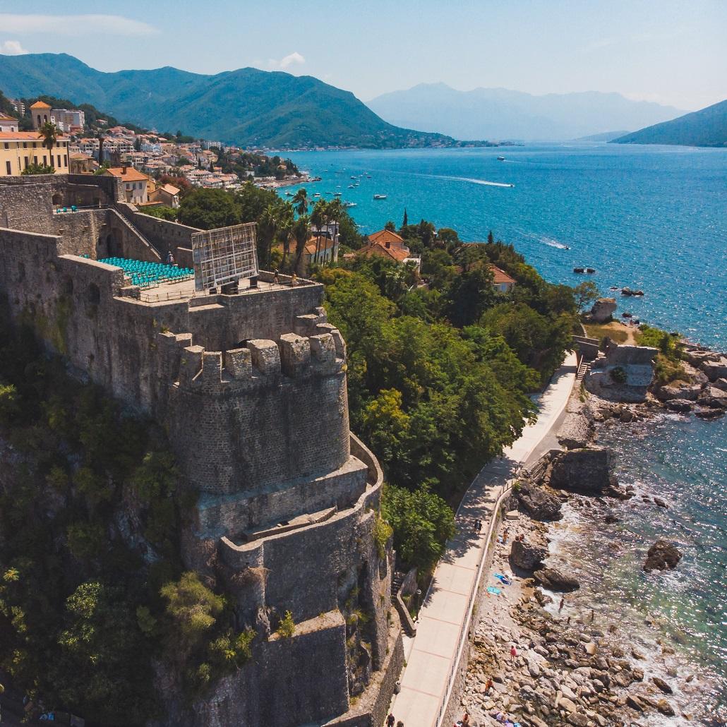 aerial view of forte mare in herceg novi montenegro