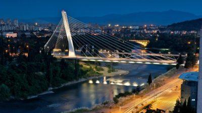 Подгорица вечером в Черногории