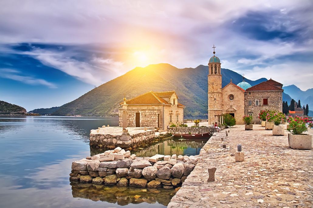 Castle on the lake in Montenegro