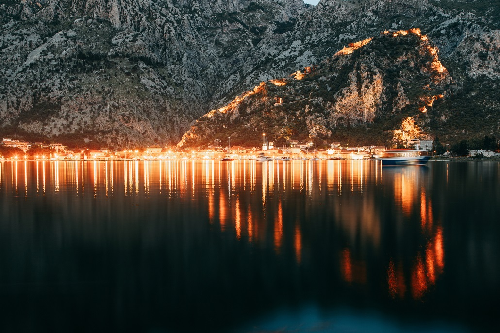 Evening Bay of Kotor, Montenegro. Panoramas of the night city and fortress.