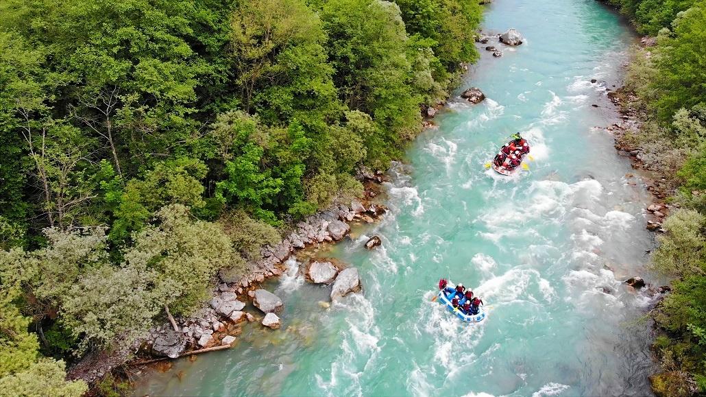 Рафтинг в Черногории вид сверху