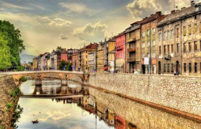 Вид на исторический центр Сараево - Босния и Герцеговина