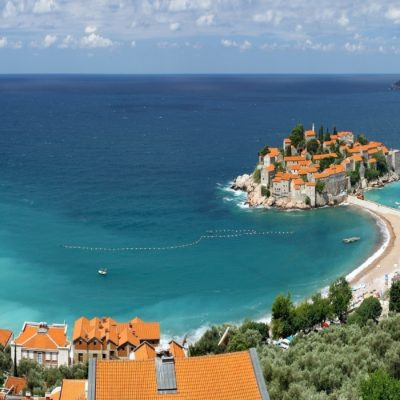 Panoramic view of Sveti Stefan (St. Stefan) island in Adriatic sea, Montenegro